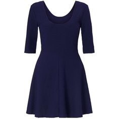 Miss Selfridge Navy Textured Skater Dress ($44) ❤ liked on Polyvore featuring dresses, navy, miss selfridge and miss selfridge dress