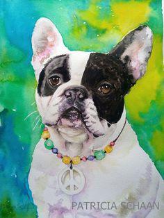 ACUARELAS Y RETRATOS DE GALGOS Y ALGO MÁS  Mi mundo ,mis aficiones  ,sobre un bloc de acuarela .: FANTA ,la bulldog hyppie