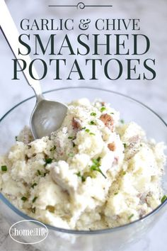 GARLIC AND CHIVE SMASHED POTATOES | THE SECRET TO INCREDIBLY FLAVORFUL SMASHED AND MASHED POTATOES VIA FIRSTHOMELOVELIFE.COM