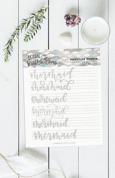 Mermaid love! Free printable practice sheet for hand lettering 'mermaid'