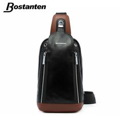 bag strip on sale at reasonable prices, buy Bostanten Patchwork Tide Men's Genuine leather Chest Bag Back Pack Mens Messenger Bags Vintage Unbalance Male Shoulder Sling bag from mobile site on Aliexpress Now! Cheap Crossbody Bags, Leather Crossbody Bag, Leather Backpack, Everyday Carry Bag, Satchel Backpack, Shoulder Sling, Back Bag, Messenger Bag Men, Leather Accessories