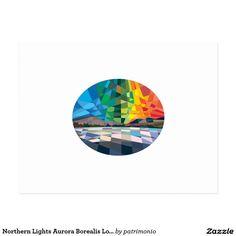 Northern Lights Aurora Borealis Low Polygon Postcard. Low polygon style postcard with an illustration of the Northern lights or Aurora Borealis set inside an oval shape. #postcard #auroraborealis #northernlights