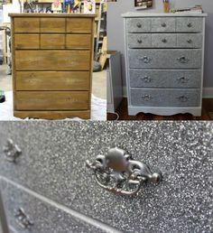 Dresser Makeover With Glitter! #DIY #GLITTER