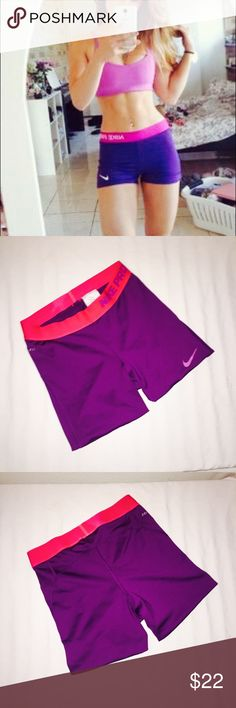 ✔️Nike Pro Purple Athletic Shorts Nike Pro Purple with pink waist band.  SMALL - NWOT   -Turn up the heat on an otherwise everyday workout with the intense Nike Pro Shorts  -Compression fit keeps everything tight to the body for maximum support during high-performance activity.  -Dri-FIT high-performance fabric wicks perspiration away from the body and towards the surface where it can evaporate. -Flat seams reduce chafing and increase comfort.  80% polyester, 20% spandex. Perfect new…