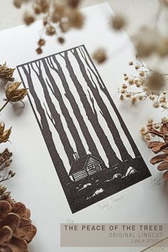 """Beautiful black and white ink handmade print """"The Peace of the Trees"""" in linocut technique. A part of the """"Hermitages"""" series. Perfect wall decoration idea suitable for every interior. Fantastic gift for forest and nature lovers. This Black Edition is limited to 40 pieces. Come and grab one! Linoprint, Tree Illustration, Black Edition, Landscape Prints, White Ink, Poster Wall, Masters, Hand Carved, Landscapes"""