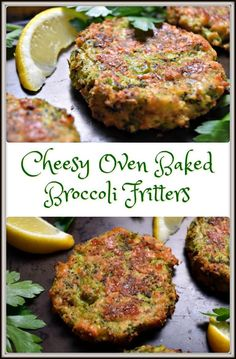 These Cheesy Oven Baked Broccoli Fritters are great as an appetizer, a quick snack, or as a side dish. They will quickly disappear right before your eyes! - Sub Flax Flour for bread crumbs to make it low-carb Veggie Side Dishes, Vegetable Dishes, Side Dish Recipes, Vegetable Recipes, Vegetarian Recipes, Cooking Recipes, Healthy Recipes, Rice Recipes, Parmesan Recipes