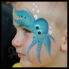Fast Face Painting design by Manja Warner, ShiningFaces.com. Octopus face painting. Great for ppf linebuster face paint designs. Googly eyes are fun! Good boy face paint design.