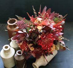 Autumnal bouquet. Reds & rusts wedding.