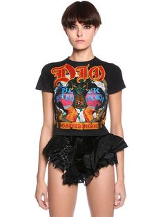 DILARA FINDIKOGLU Cropped Printed Jersey Cone Bra T-Shirt, Black. #dilarafindikoglu #cloth #t-shirts