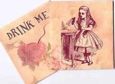 Vintage inspired Alice in Wonderland drink me tea bag envelope party favor set 6 #HandMade #Any