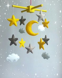 Star baby mobile Grey yellow nursery Moon mobile Cloud baby crib mobile Space…