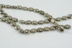 pyrite,iron pyrite bead, Fools gold, stone bead, gemstone bead, loose gemstone, bronze bead, gold pyrite bead, oval bead,10x8mm - 15 inch