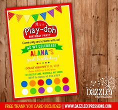 Printable Play Doh Inspired Birthday Party Invitation | Playdough | Clay | Kids Birthday Party Idea | FREE thank you card included | DIY | Digital File | Matching Party Package Available! Banner | Cupcake Toppers | Favor Tag | Food and Drink Labels | Signs |  Candy Bar Wrapper | www.dazzleexpressions.com