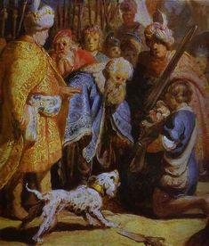 david presenta la cabeza de goliat al rey saul. rembrandt