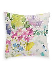 Watercolour Flowers Linen Cushion
