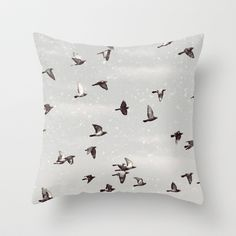 Winter Play Throw Pillow by Paula Belle Flores - $20.00
