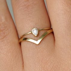 Pear Diamond Wedding Set with a Curved Wedding Band by artemer, $600.00