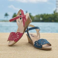 Sunny Cutout Wedge by Beacon from Monroe and Main.  Teeny glints at your feet add the perfect outdoor sparkle to these colorful, air-cooled wedges.