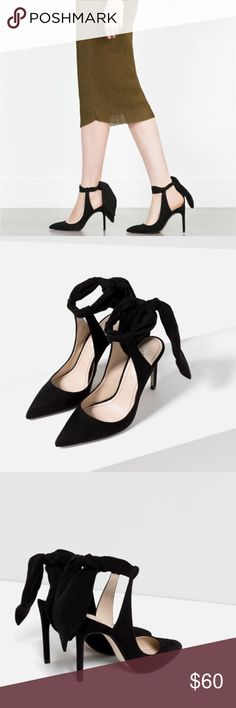 """Zara Pointy Toe Ankle Tie Heels So glamorous. From a. Instagram: CostumeBaldor out to jeans and a slick jacket! Tie the strap to desired fit. 4.25"""" heel and comes with dust bag. From the Zara summer footwear collection. Includes protective plastic on sole. Size 38 Zara Shoes Heels"""