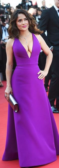 Who made Salma Hayek's purple gown?