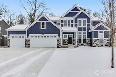Sebastian Home Plan- Exterior  #StoneAccents #BlueHouse #BeautifulExterior #StatelyHome #NewHome #EastbrookHome