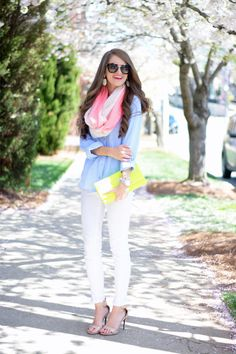 white skinny jeans + light blue oxford button up + pink and white infinity scarf