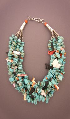 Turquoise & shell multi-strand necklace