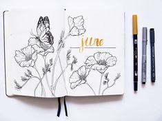 Soooo #pretty #june #butterfly #flowers #drawing #calligraphy #bulletjournal #bulletjournalitis made by @hexzen