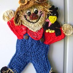 Crochet Scarecrow. Wall hanging. My own design by Jerre Lollman
