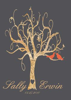 WEDDING TREE personalized wedding gift with the names and wedding date