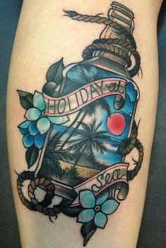 Holiday at sea tropical rum bottle tattoo by Amanda Grace Leadman