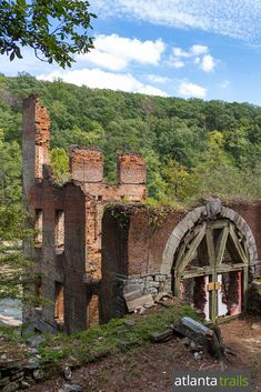 The Sweetwater Creek red trail hikes to the civil war mill ruins near Atlanta