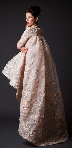 Krikor Jabotian Fall-Winter 2014-15 nude color embroidered lace short wedding gown 3