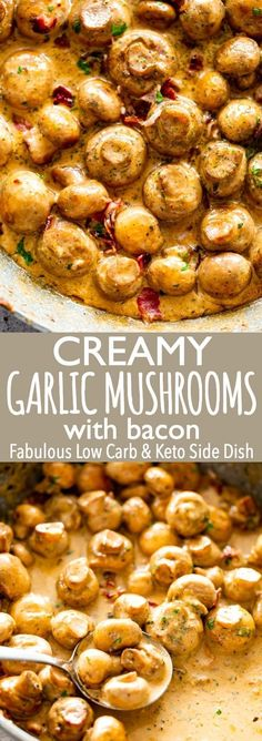 Creamy Garlic Mushrooms with Bacon | Easy Mushroom Recipe