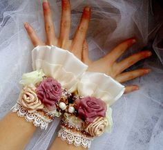 """The elegant cuffs embroidered with beads """"For beloved"""". $75.00, via Etsy."""
