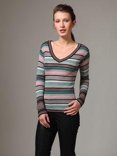M Missoni  Wool Circle Stripe V-Neck Sweater