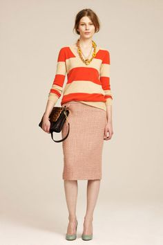 I really love this.  I am such a sucker for the pencil skirt. i also really love bright corals and oranges done right.