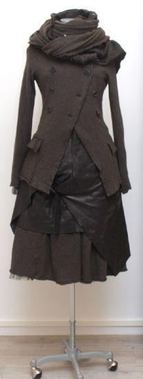 rundholz - Lederkleid mit Cacheur black - Winter 2015 - stilecht - mode für frauen mit format...