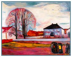 House in Norway Landscape by Symbolist Artist Edvard Munch Counted Cross Stitch or Counted Needlepoint Pattern #Munch