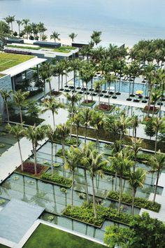 // InterContinental Sanya Resort by Cicada Landscape Design Plans, Landscape Architecture Design, Urban Landscape, Modern Landscaping, Pool Landscaping, Resort Villa, Exterior, Cool Landscapes, Pool Designs
