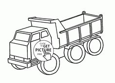 Simple Dump Truck coloring page for kids, transportation coloring pages printables free - Wuppsy.com