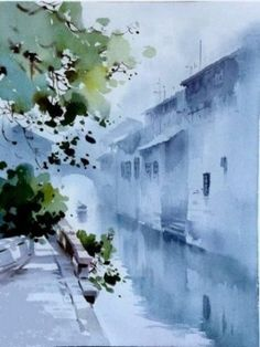 Walan Wu-beautiful use of Chinese ink and western watercolor teachniques