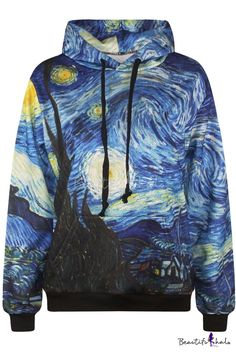 Van Gogh Starry Night Oil Painting Print Long Sleeve Hooded Sweatshirt