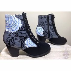 Hand Painted Shoes  Roses with Lace Design