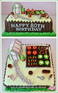 Allotment themed cake with vegetable patch, greenhouse, and other bits Allotment Cake, 70th Birthday Cake, Birthday Ideas, Bike Cakes, Dad Cake, Garden Cakes, Specialty Cakes, Novelty Cakes, Fancy Cakes