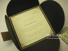 Invitación de Boda - Negro, Dorado y Crema