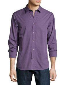 MICHAEL KORS Gingham Cotton Poplin Shirt, Blackberry. #michaelkors #cloth #shirt