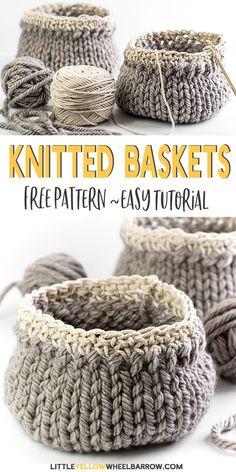 Easy DIY baskets you can knit up easily. This simple craft project requires a … Easy DIY baskets you can knit up easily. This simple craft project requires a single skein of yarn and requires only basic knitting knowledge. Easy Knitting Projects, Easy Craft Projects, Yarn Projects, Knitting For Beginners, Easy Crafts, Sewing Projects, Easy Diy, Knitting Stitches, Knitting Patterns Free
