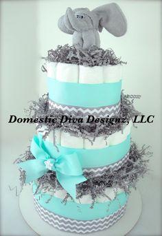 Diaper Cake  Light Turquoise Gray & White by DomesticDivaDesignz