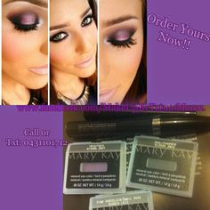 """Smoky Eye With Purple Hue->  *Try With Mary Kay Mineral Eye Colours In..Iris And Coal, Highlight The Inside Eye With Pink Porcelain Mineral Highlighting Powder!! ❤(Also try MK Black Ultimate Mascara & Black Liquid Eye Liner)!! www.facebook.com/MakeUpByTatumMaree. Xox"